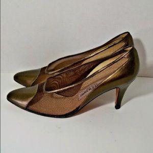 Evan Picone Made in Spain Copper Gold Mesh Heels
